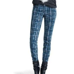 CAbi Blue Grid Pattern Skinny Curvy Stretch Jean